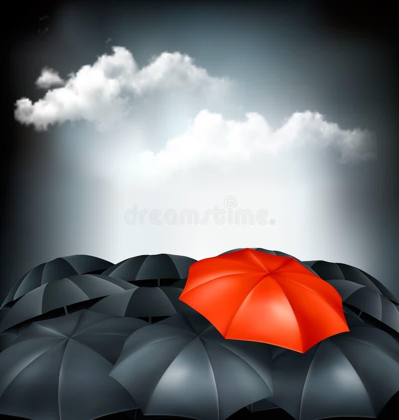 Één rode paraplu in een groep grijze paraplu's royalty-vrije illustratie