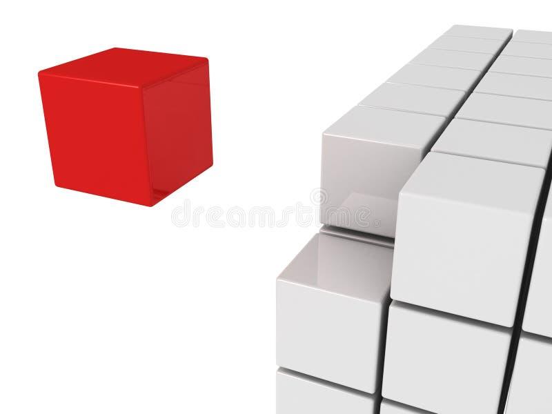 Één rode unicuekubus van het individualiteitsconcept royalty-vrije illustratie