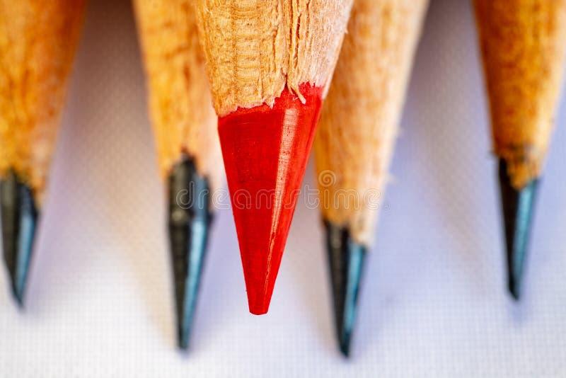 Één rood potlood en zwart grafiet vier stock foto's