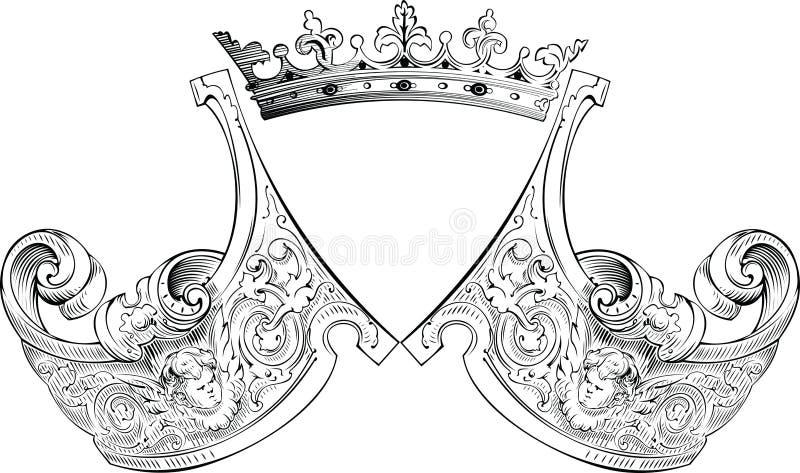 Één Samenstelling van de Wapenkunde van de Kroon van de Kleur. stock illustratie