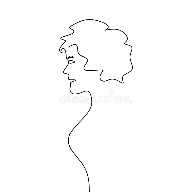 één samenvatting van het het haar vrouwelijke gezicht van de lijntekeningengreep stock illustratie