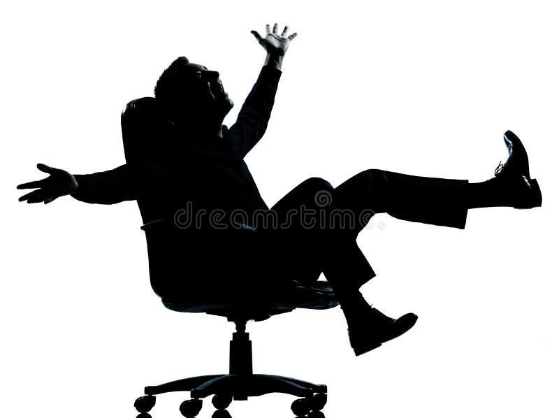Één silhouet van de bedrijfsmensen gelukkig vreugde stock foto's