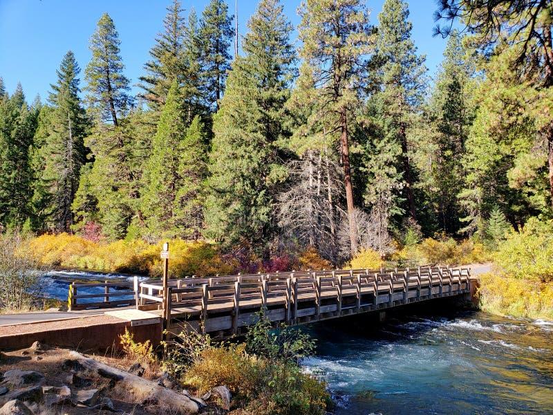 Één steegbrug over de rivier stock foto
