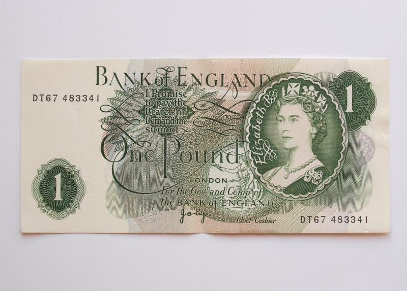 Één Sterling Pound-nota, circa 1970 stock afbeeldingen