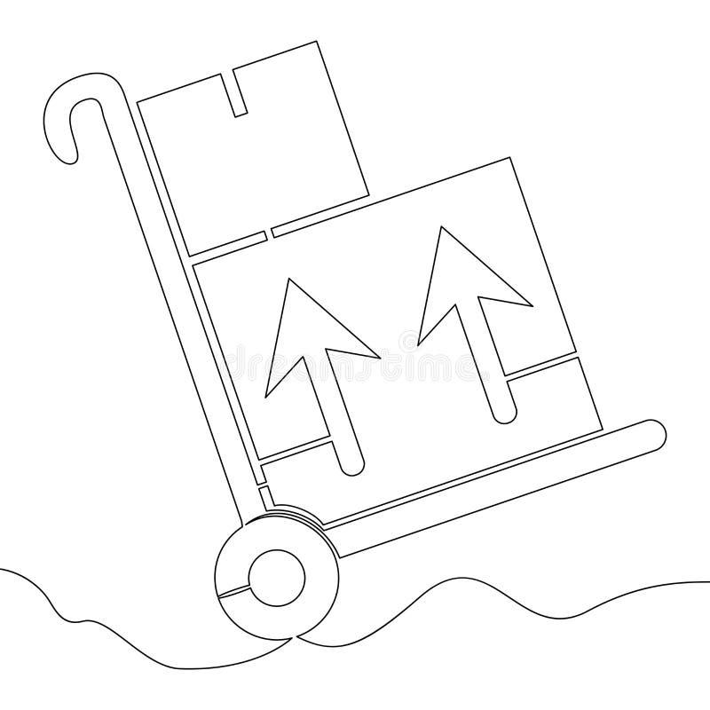 Één stootkar van de het karretjelevering van het lijnpakhuis vector illustratie