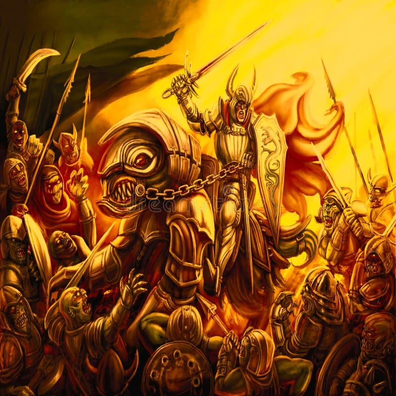Één strijder op een draak is tegengesteld aan de krachten van kwaad royalty-vrije illustratie
