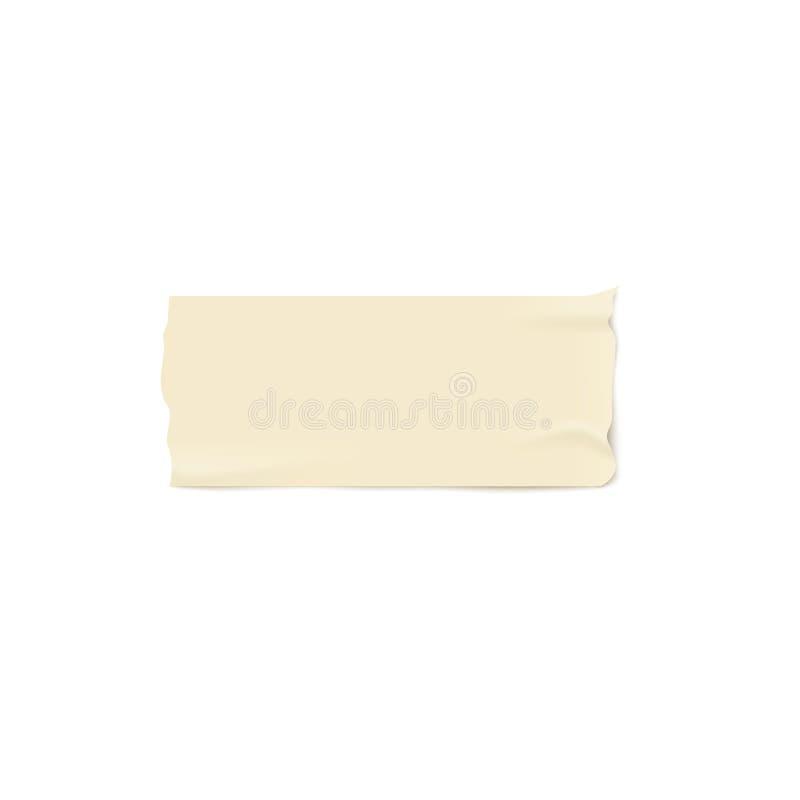 Één stuk van beige kleefstof of afplakband met gescheurde randen realistische stijl vector illustratie
