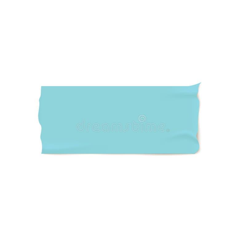 Één stuk van blauw kleefstof of afplakband met gescheurde randen realistische stijl stock illustratie