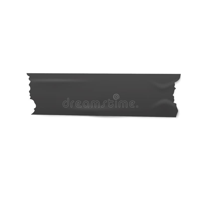 Één stuk van zwart kleefstof of afplakband met gescheurde randen realistische stijl stock illustratie
