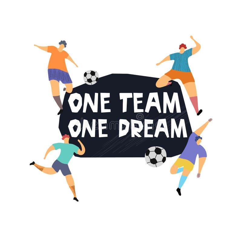 Één team één droom hand het getrokken van letters voorzien met voetbalsters royalty-vrije illustratie