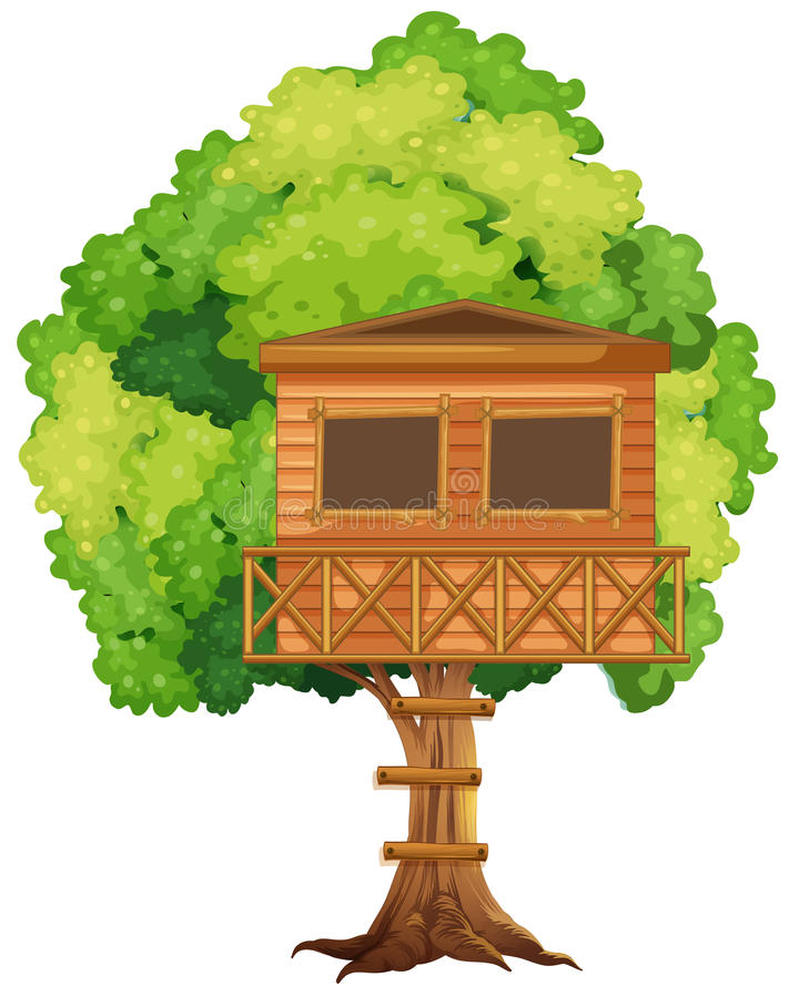 Één treehouse in de boom royalty-vrije illustratie