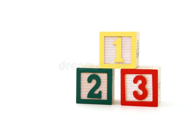 Één, twee, drie stock afbeelding