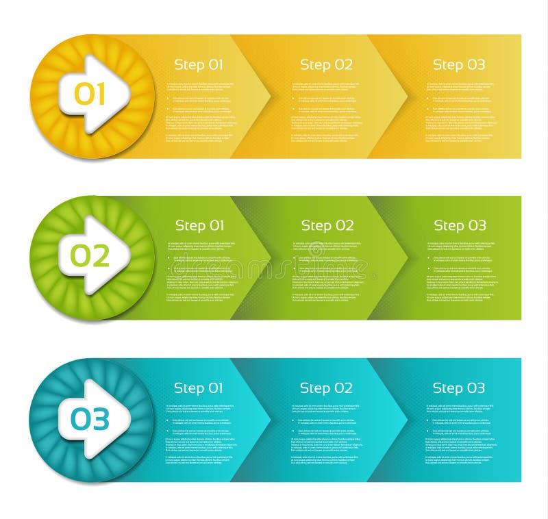 Één twee drie - Reeks van versie drie - vectordocument vooruitgangsstappen voor leerprogramma royalty-vrije illustratie