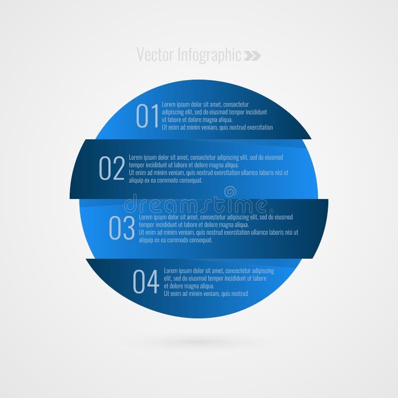 Één twee drie vier stap vector infographic element 1 2 3 4 vooruitgangs blauw symbool De geïsoleerde illustratie van het Cirkelpi vector illustratie