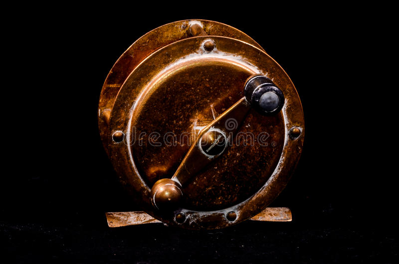 Één Uitstekende Oude Metaal Visserijspoel royalty-vrije stock afbeeldingen