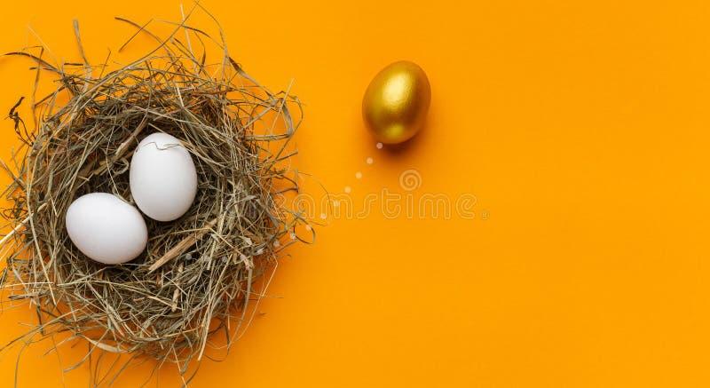 Één uniek gouden ei die van twee witte eieren in nest duidelijk uitkomen royalty-vrije stock afbeeldingen