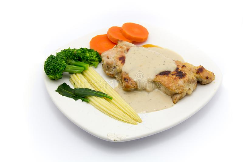 Één van clen voedselmenu met verse vegtables zoals tometo wordt gediend die, stock fotografie