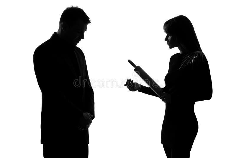 Één van de paarman en vrouw binnenlands geweld royalty-vrije stock afbeelding