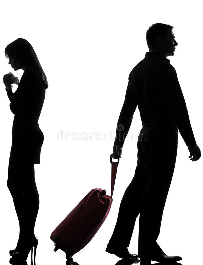 Één van de paarman en vrouw geschilscheiding stock fotografie