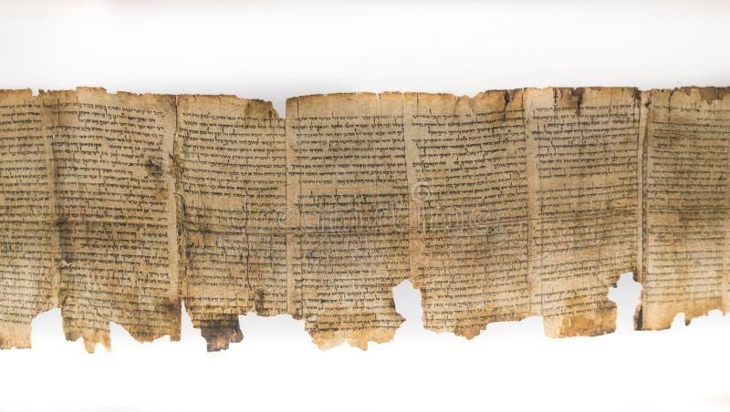 Één van Dode Overzeese die Rollen, in Heiligdom van het Boek worden getoond israël stock fotografie