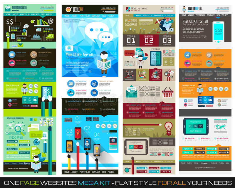 Één van het het ontwerpmalplaatje van de paginawebsite vlakke UI REEKS 1 royalty-vrije illustratie