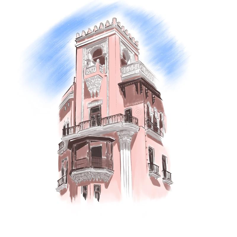 Één van historische gebouwen in Baku, Azerbeidzjan royalty-vrije illustratie