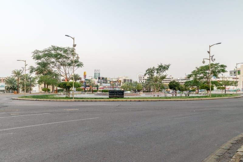 Één van hoofdcirkel in Aqaba-stad Grote Arabische Opstandcirkel in de ochtend stock foto