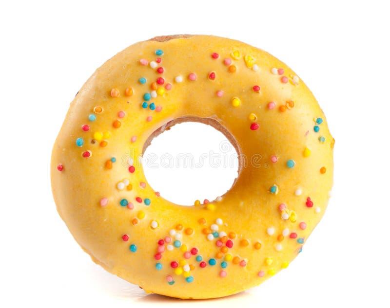 Één verglaasde die doughnut op witte achtergrond wordt geïsoleerd royalty-vrije stock foto