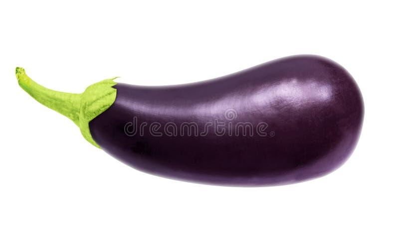 Één verse die aubergine op wit, met het knippen van weg wordt geïsoleerd royalty-vrije stock fotografie