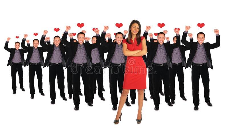 Één vrouw en mannen collage royalty-vrije stock afbeelding