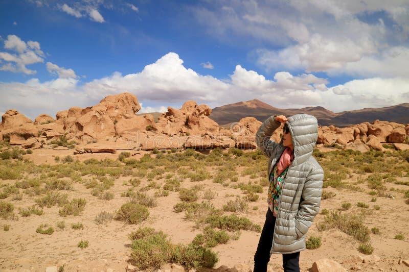 Één Vrouwelijke Toerist die het Verbazende Landschap met Overvloed van Rotsvormingen bekijken in Siloli-Woestijn, Hoge Hoogteuitg stock afbeelding