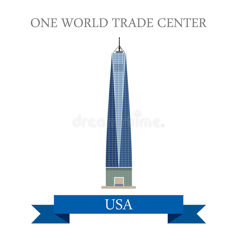Één World Trade Center New York Verenigde Staten fla royalty-vrije illustratie