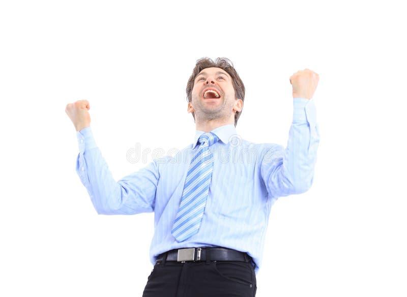 Één zeer gelukkige energieke zakenman stock foto