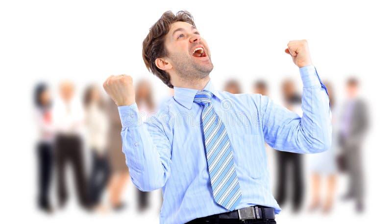 Één zeer gelukkige energieke zakenman royalty-vrije stock foto's