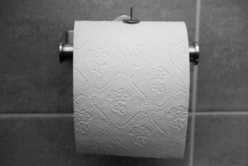 Één zilveren grote punaise of tekening-speld op toiletpapier stock fotografie