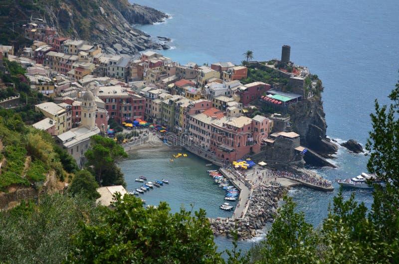韦尔纳扎都市风景在五乡地 科教文组织世界遗产站点 利古里亚 意大利 库存照片