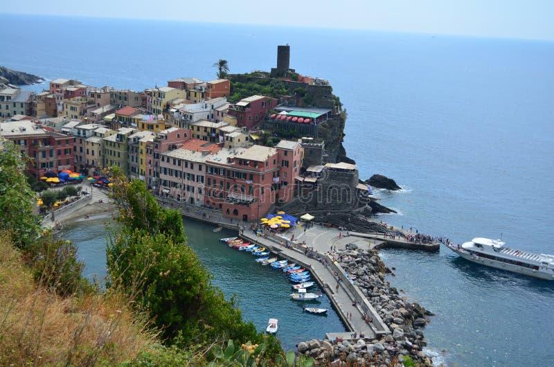 韦尔纳扎都市风景在五乡地 科教文组织世界遗产站点 利古里亚 意大利 免版税库存图片