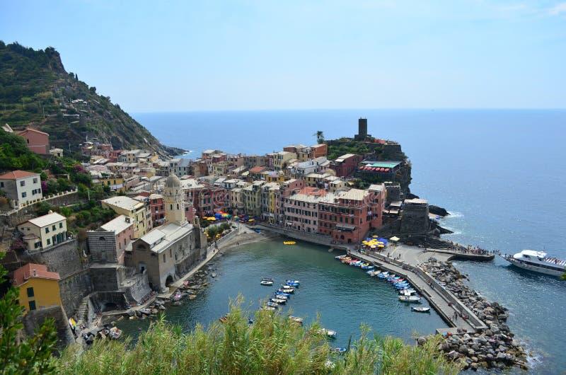 韦尔纳扎都市风景在五乡地 科教文组织世界遗产站点 利古里亚 意大利 免版税库存照片