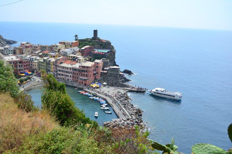 韦尔纳扎都市风景在五乡地 科教文组织世界遗产站点 利古里亚 意大利 库存图片