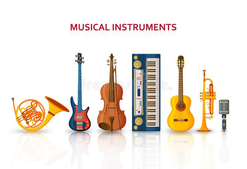 音乐背景由不同的乐器、高音谱号和笔记做成 文本地方 向量例证