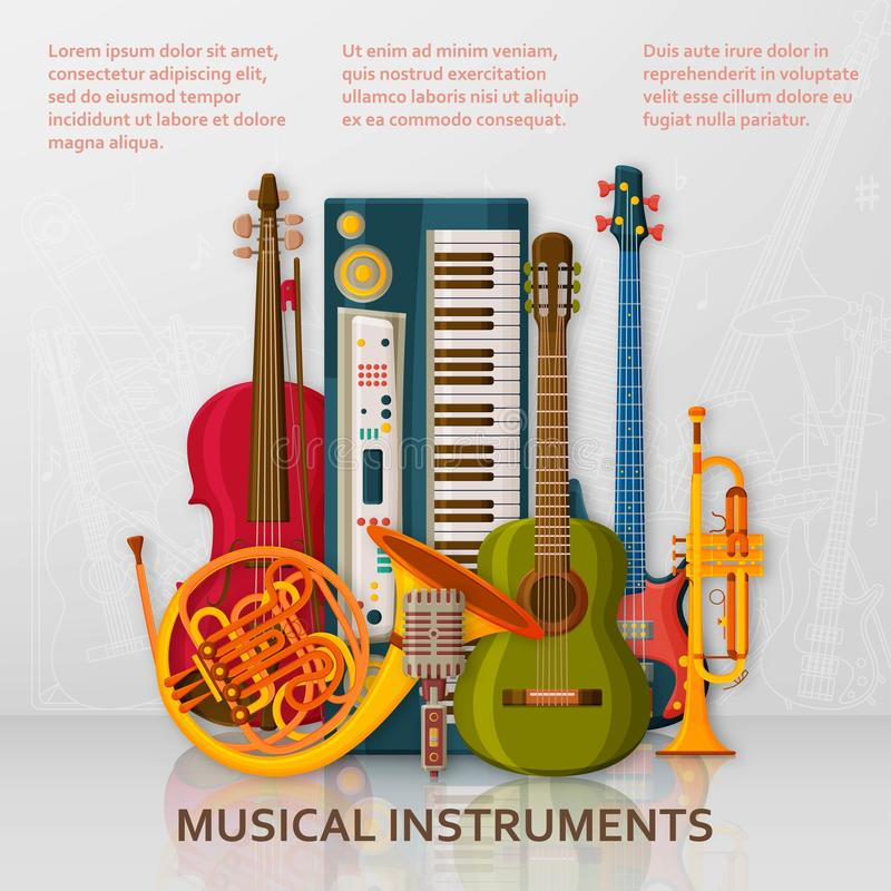 音乐背景由不同的乐器、高音谱号和笔记做成 文本地方 库存例证