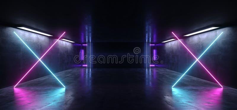 霓虹十字形的背景太空飞船俱乐部舞蹈阶段空的空间黑暗的反射性难看的东西具体隧道走廊地下 皇族释放例证