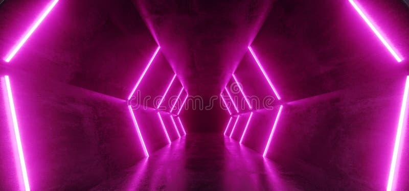 霓虹发光的减速火箭的未来派科学幻想小说舞蹈萤光豪华光亮线变粉红色在空的黑暗的阶段外籍人的紫色光 库存例证