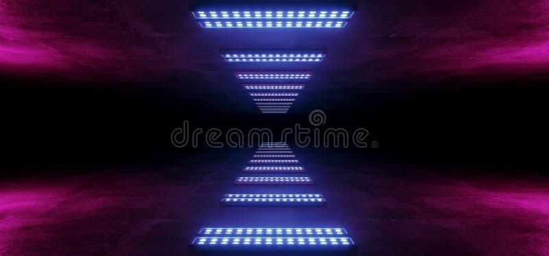 霓虹发光的科学幻想小说未来派网络减速火箭的空的难看的东西具体黑暗的反射性隧道走廊紫色桃红色蓝色光点 库存例证