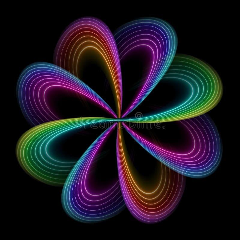 霓虹波浪线,五颜六色的彩虹光谱,抽象时尚背景,花,神秘的花卉形状隔绝在黑色 向量例证