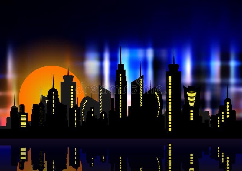 霓虹灯的未来派城市 减速火箭的样式80s 电灯泡概念能源光飞溅水 创造性的想法 设计背景,五颜六色的夜城市地平线 向量例证