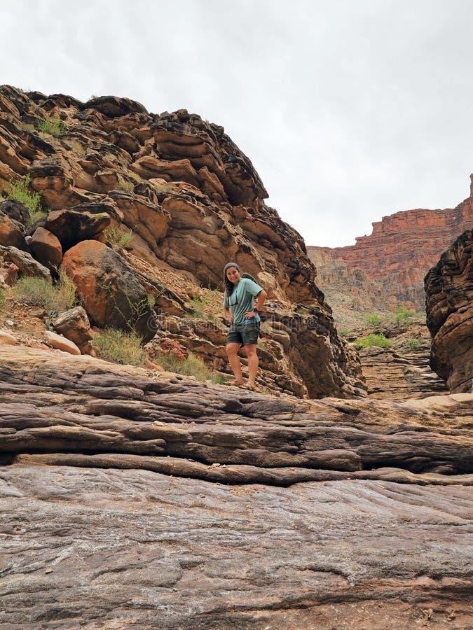 隐士小河的,大峡谷国家公园年轻女人 库存照片
