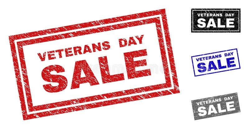 难看的东西退伍军人日销售抓了长方形邮票 向量例证