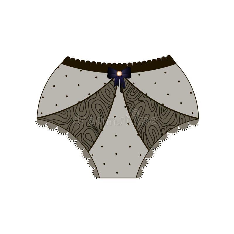 鞋带内裤以用弓与经典腰部和熟悉内情的适合的装饰的短裤的形式隔绝在白色背景 库存例证