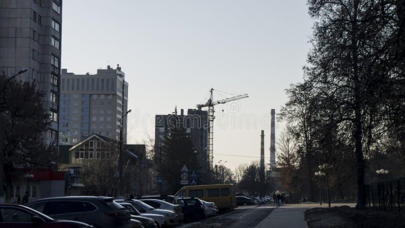都市风景工业管子和建筑 免版税库存照片